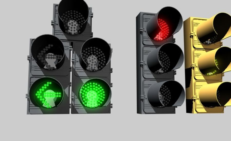 C4D LCD Traffic Signal royalty-free 3d model - Preview no. 1