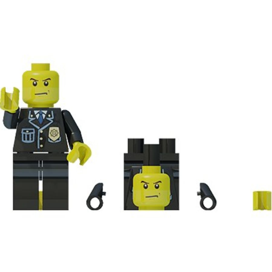 Lego man, police officer royalty-free 3d model - Preview no. 5