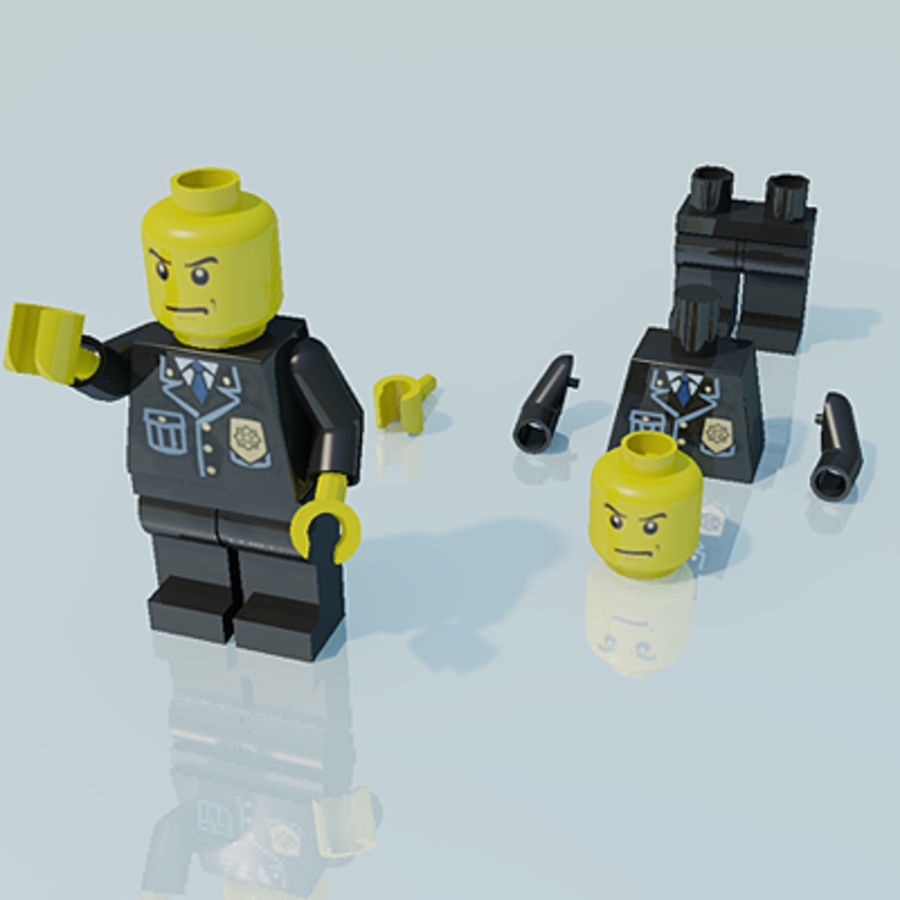 Lego man, police officer royalty-free 3d model - Preview no. 1