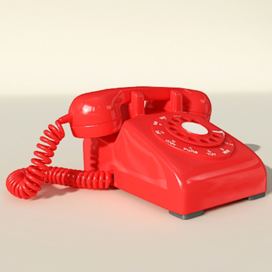 Red Telephone royalty-free 3d model - Preview no. 3