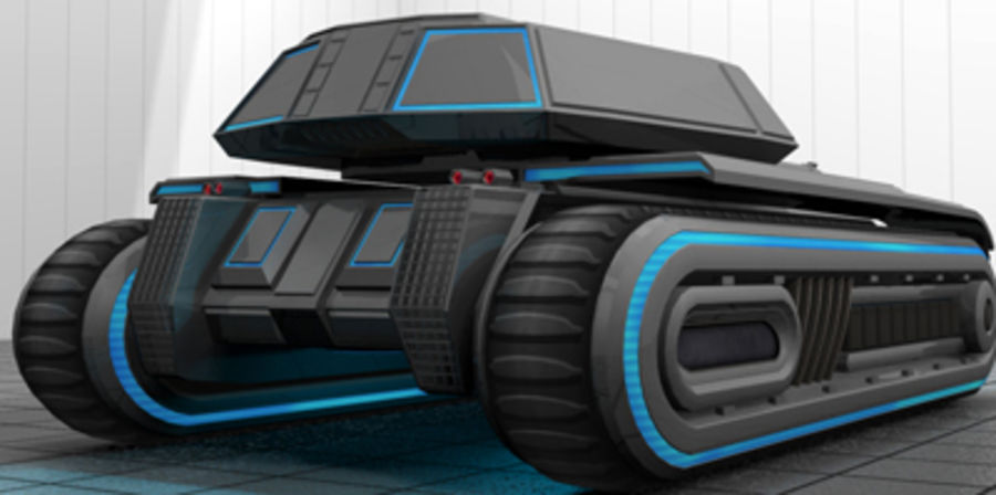 未来派坦克 royalty-free 3d model - Preview no. 2
