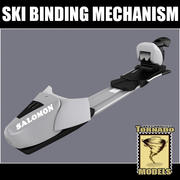Mécanisme de fixation de ski 3d model