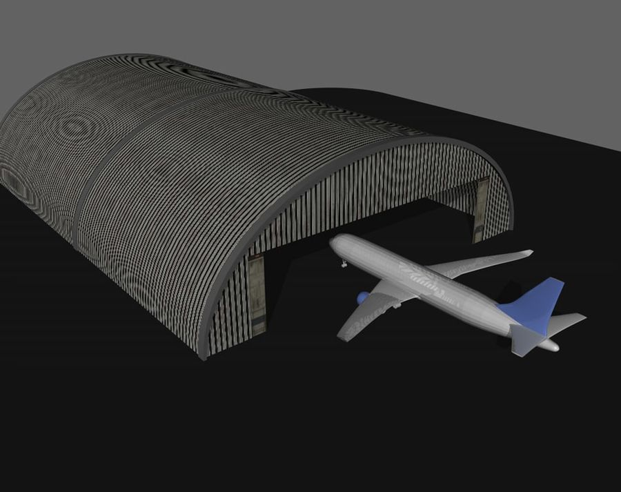 飛行機格納庫 royalty-free 3d model - Preview no. 1