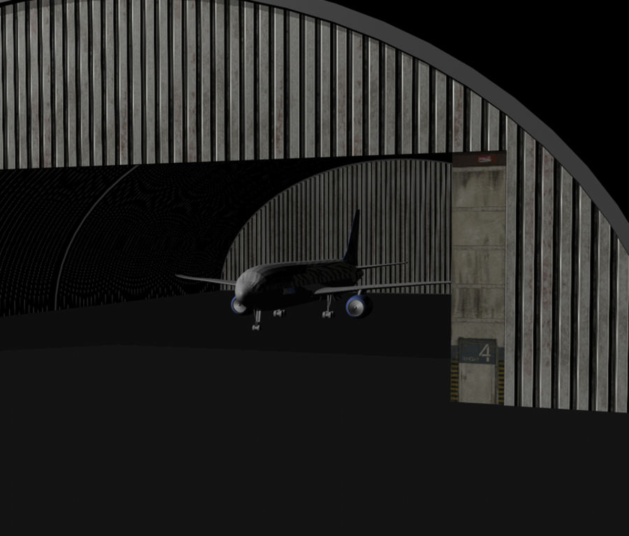 Hangar de avião royalty-free 3d model - Preview no. 4