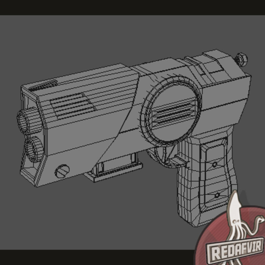 Sci fi Pistol and Clip royalty-free 3d model - Preview no. 9