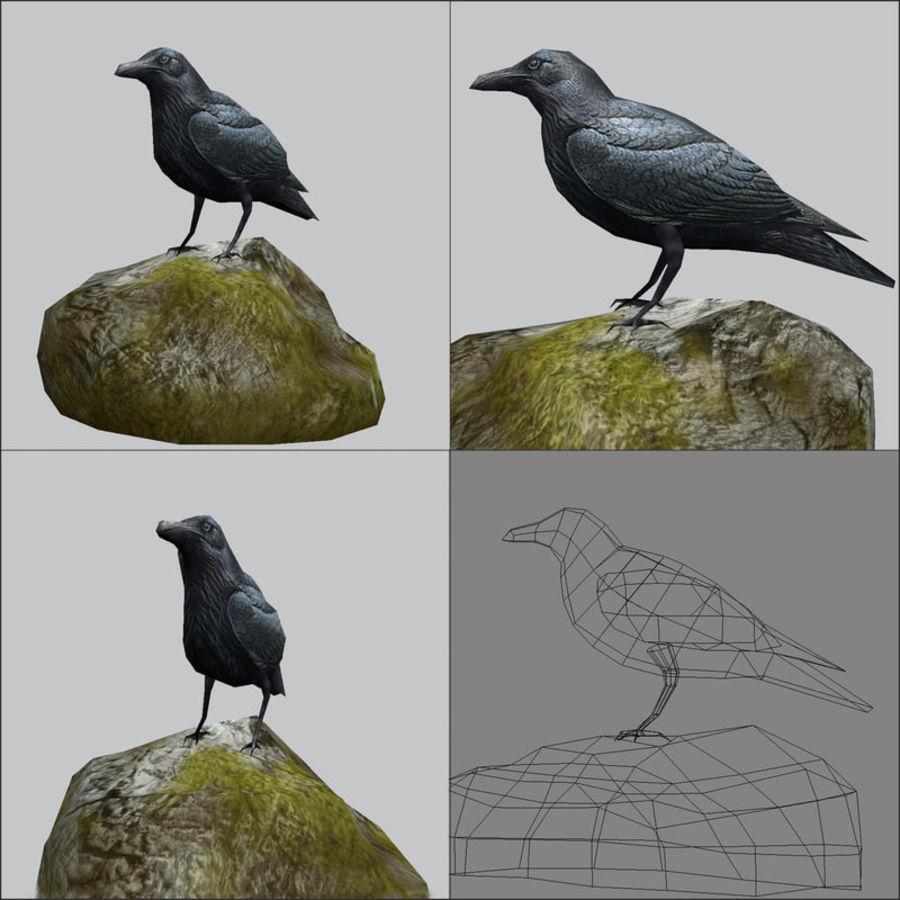 Raven,  low poly royalty-free 3d model - Preview no. 2