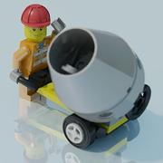 Lego man, construction worker, scene 3d model
