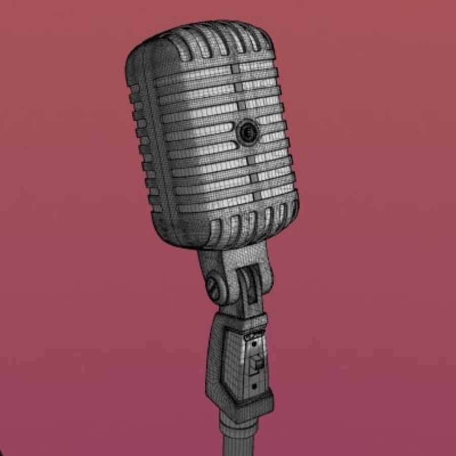 Electronics-Microphone Retro 001 royalty-free 3d model - Preview no. 2