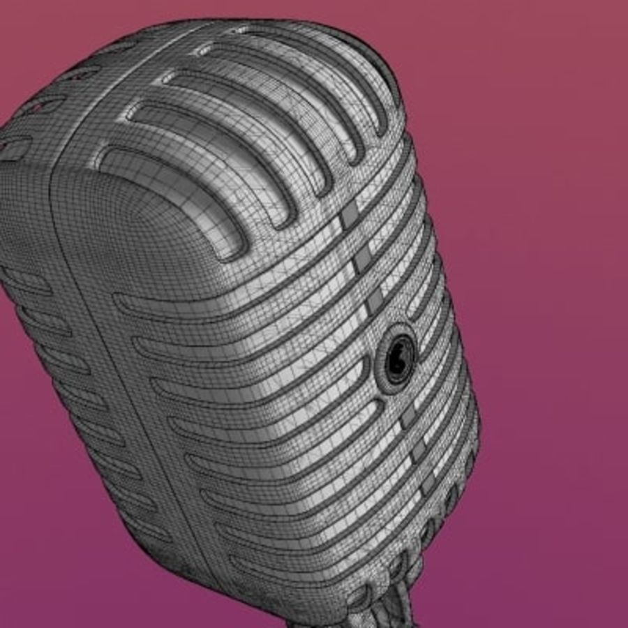 Electronics-Microphone Retro 001 royalty-free 3d model - Preview no. 3