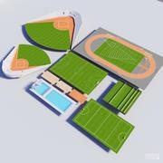 collection de 10 terrains de sport 3d model
