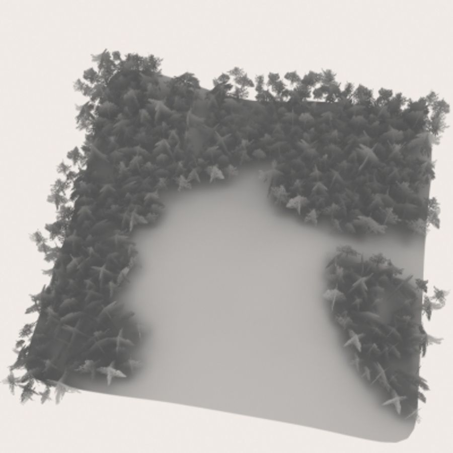 Forest lined grassy terrain royalty-free 3d model - Preview no. 14