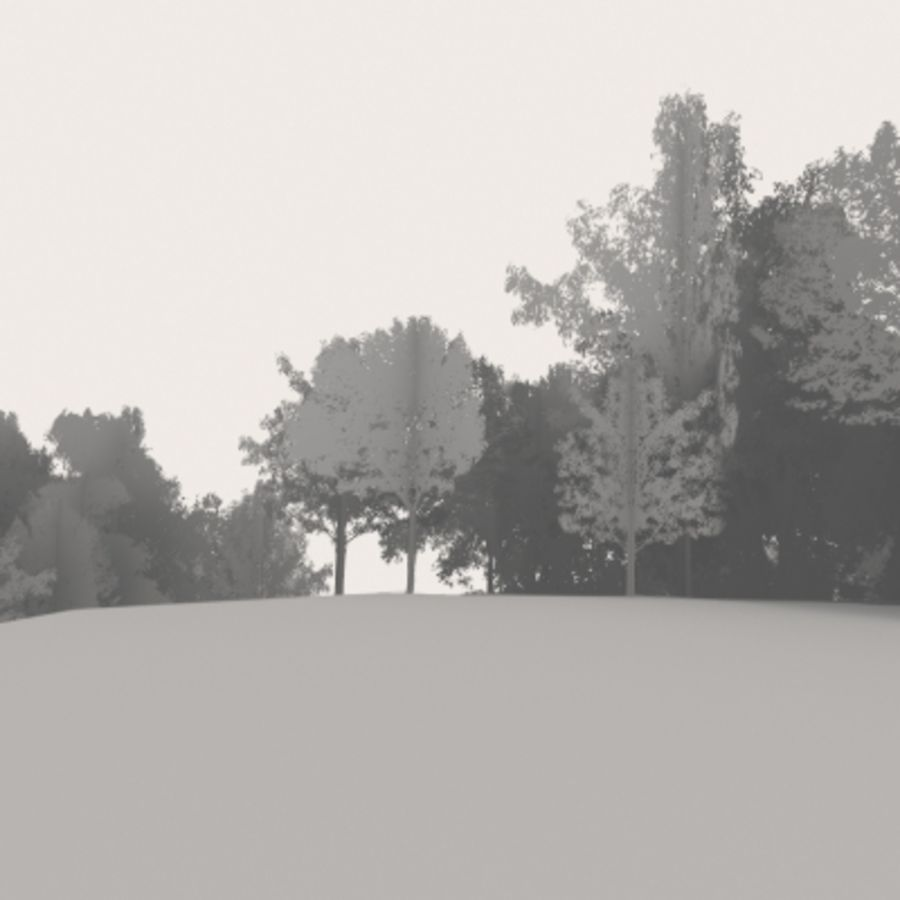 Forest lined grassy terrain royalty-free 3d model - Preview no. 11