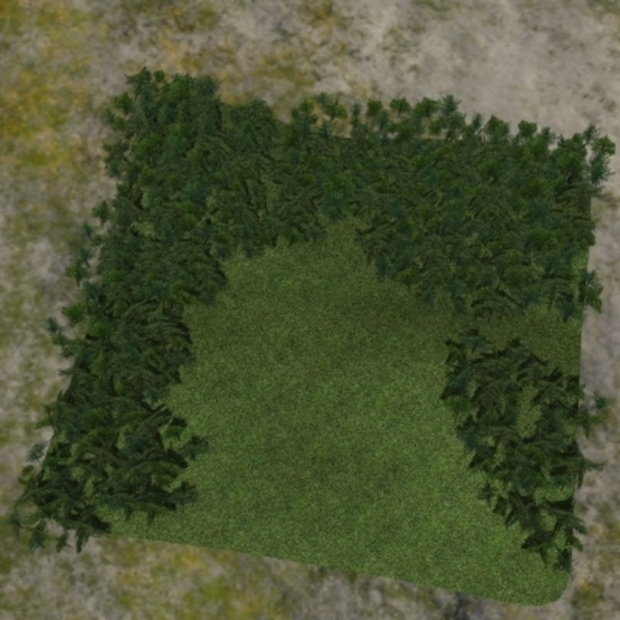 Forest lined grassy terrain royalty-free 3d model - Preview no. 13