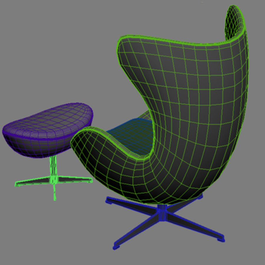 Äggstol 3dsmax royalty-free 3d model - Preview no. 6