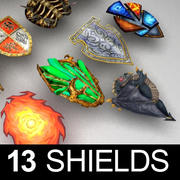 Fantasy shileds collection 3d model