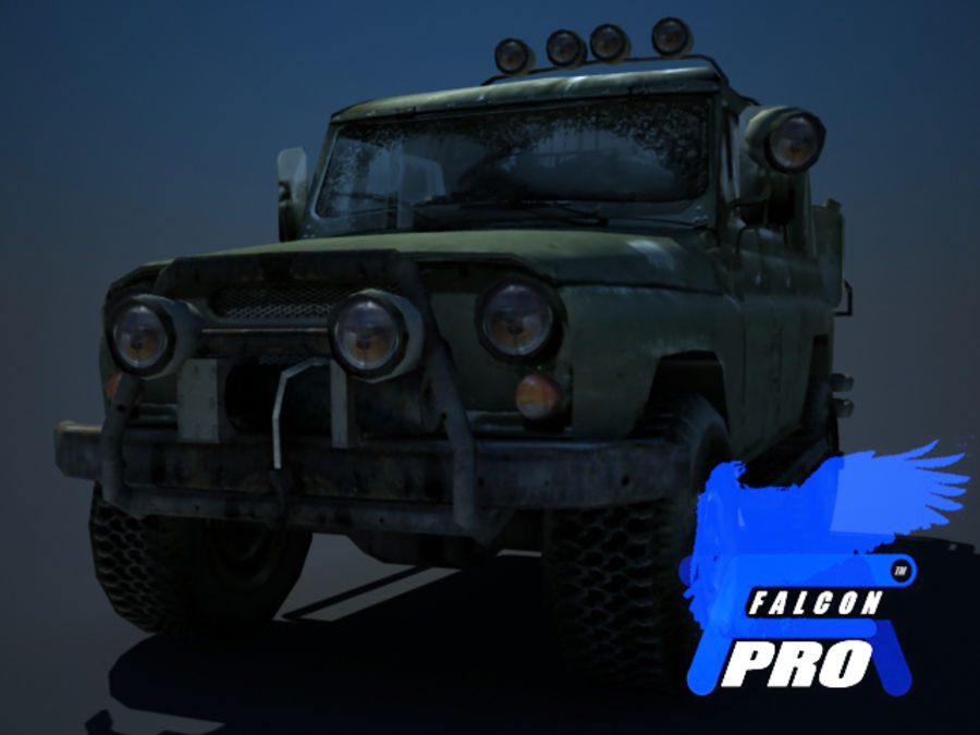 UAZ Russischer Militärjeep royalty-free 3d model - Preview no. 5