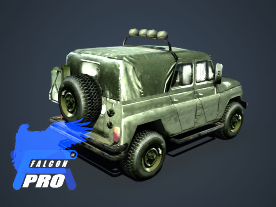 UAZ Jeep militaire russe royalty-free 3d model - Preview no. 3