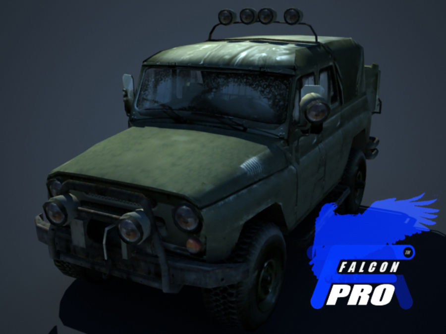 UAZ Jeep militaire russe royalty-free 3d model - Preview no. 1