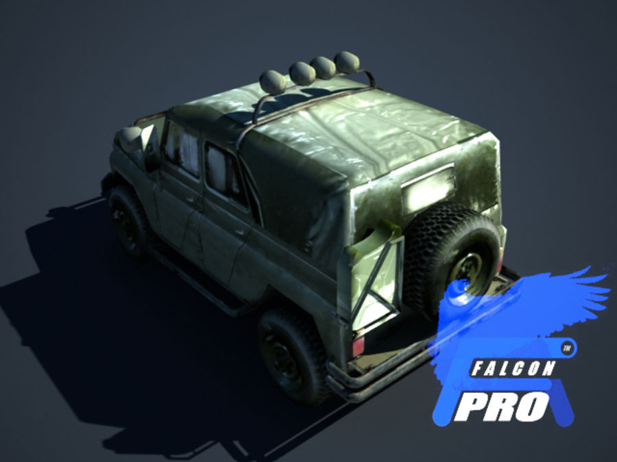 UAZ Russischer Militärjeep royalty-free 3d model - Preview no. 4