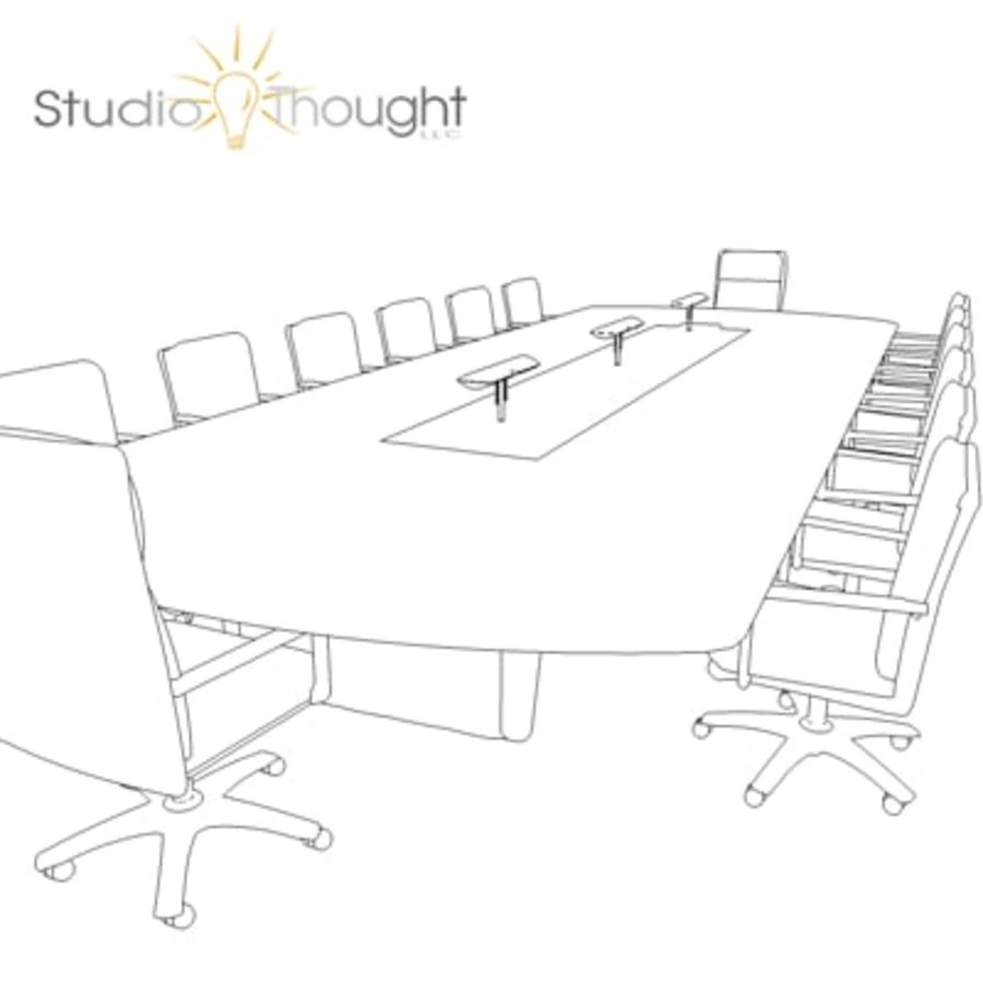Conference Room Table/ Chairs - Architectural interior royalty-free 3d model - Preview no. 8