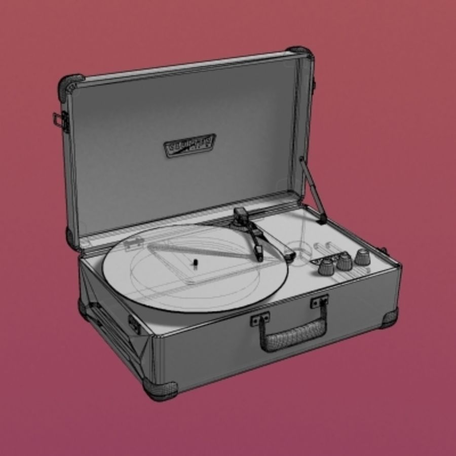 Electrónica-Record Player Retro 001 royalty-free modelo 3d - Preview no. 5