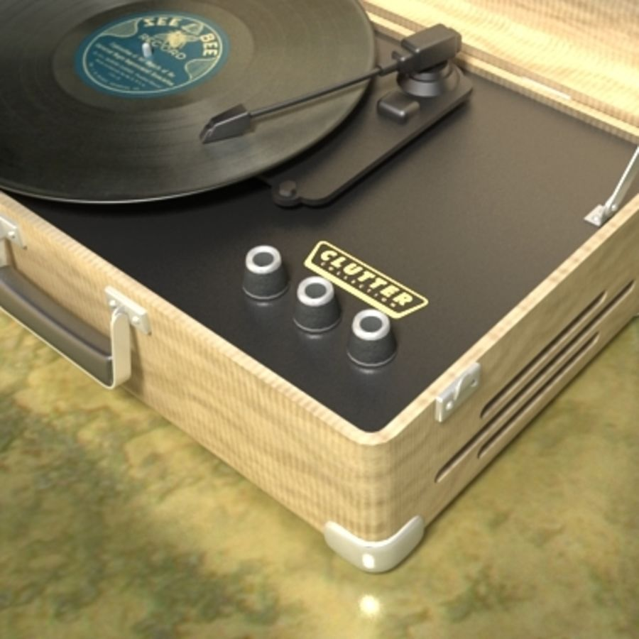 Electrónica-Record Player Retro 001 royalty-free modelo 3d - Preview no. 2