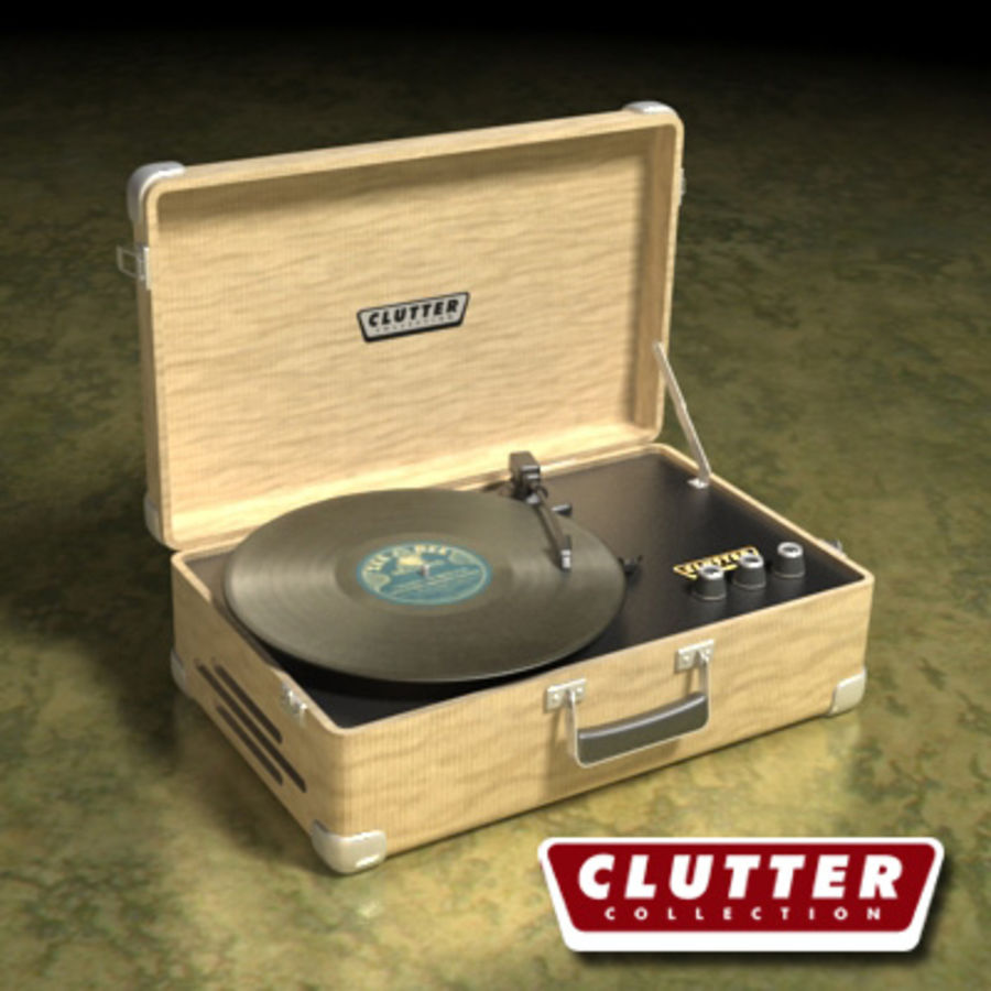 Electrónica-Record Player Retro 001 royalty-free modelo 3d - Preview no. 1