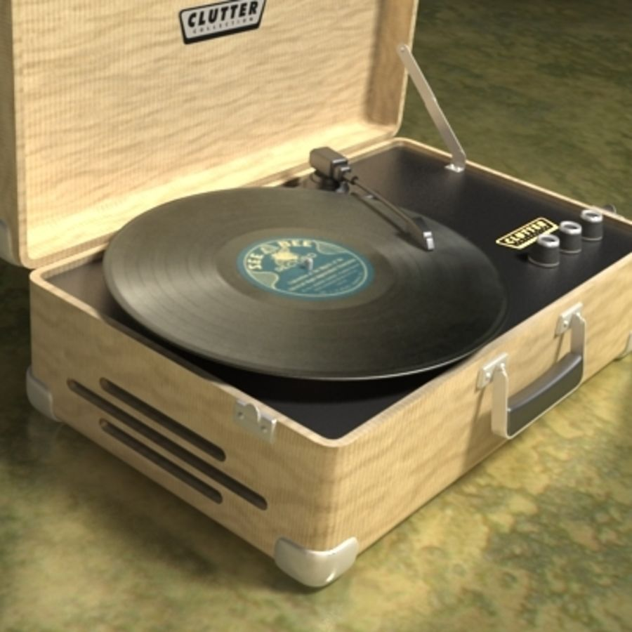 Electrónica-Record Player Retro 001 royalty-free modelo 3d - Preview no. 3
