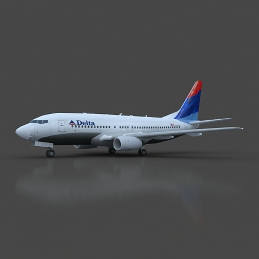 B 737 lowpoly royalty-free 3d model - Preview no. 2