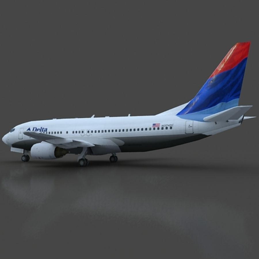B 737 lowpoly royalty-free 3d model - Preview no. 6