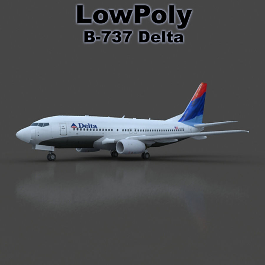 B 737 lowpoly royalty-free 3d model - Preview no. 1