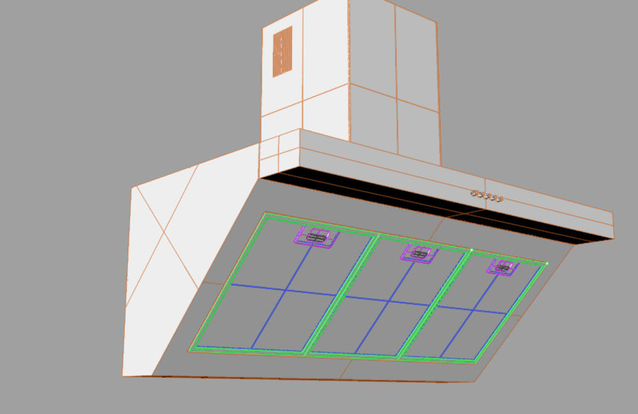 Kitchen hood royalty-free 3d model - Preview no. 1