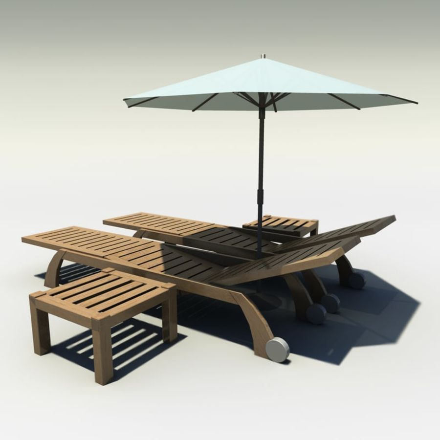 Sunbed_wooden royalty-free 3d model - Preview no. 2
