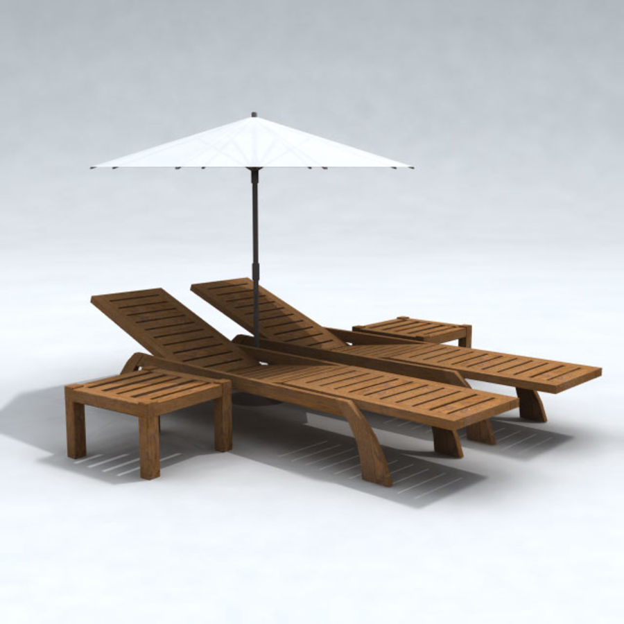 Sunbed_wooden royalty-free 3d model - Preview no. 4