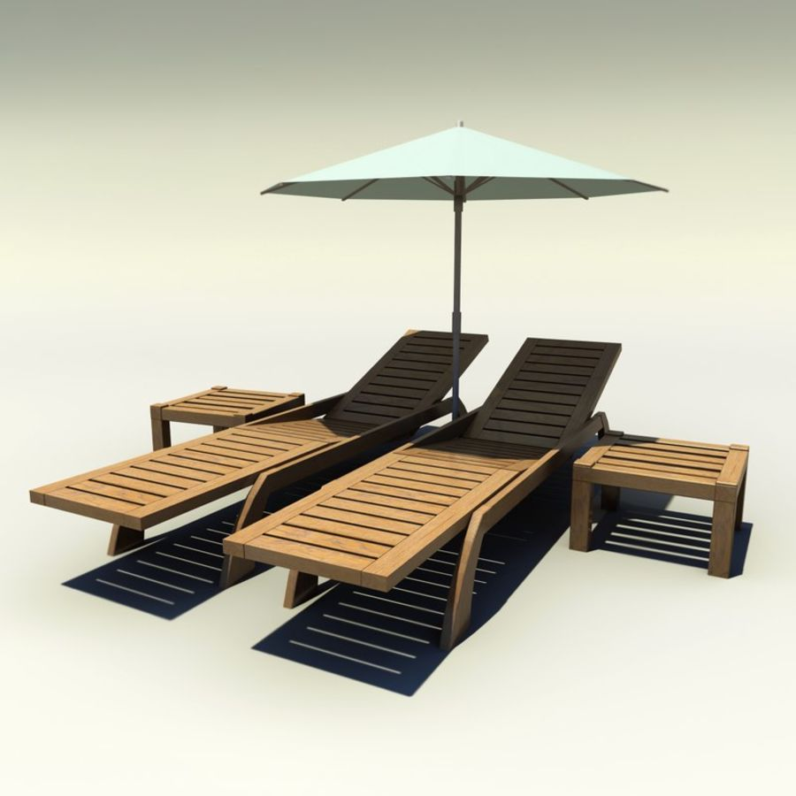 Sunbed_wooden royalty-free 3d model - Preview no. 1