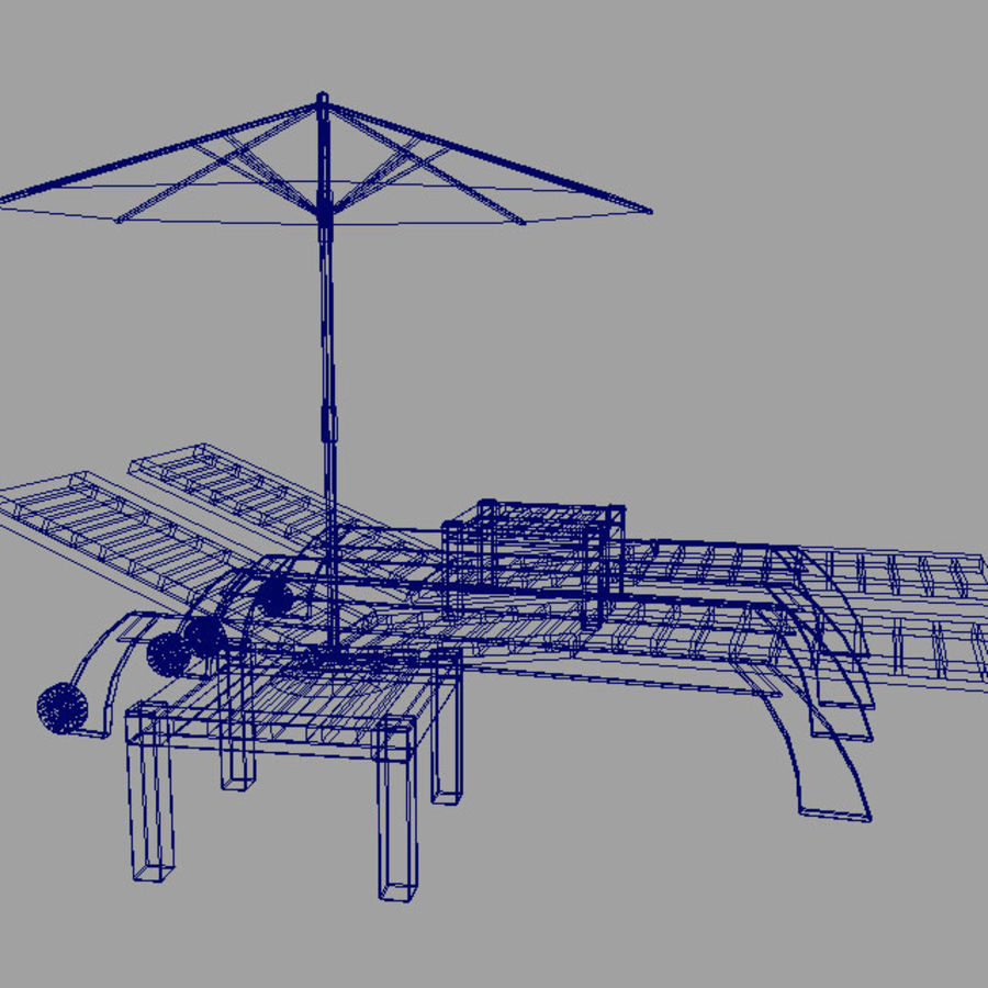 Sunbed_wooden royalty-free 3d model - Preview no. 9