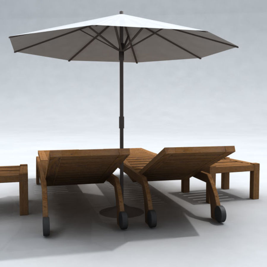 Sunbed_wooden royalty-free 3d model - Preview no. 8