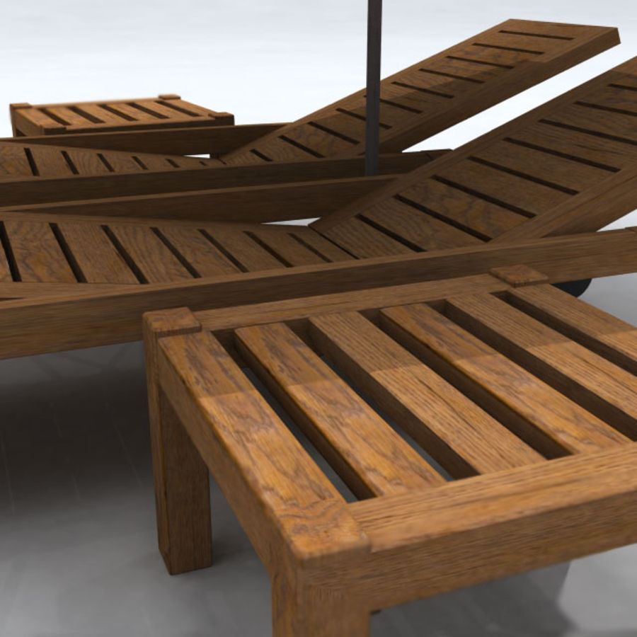Sunbed_wooden royalty-free 3d model - Preview no. 6