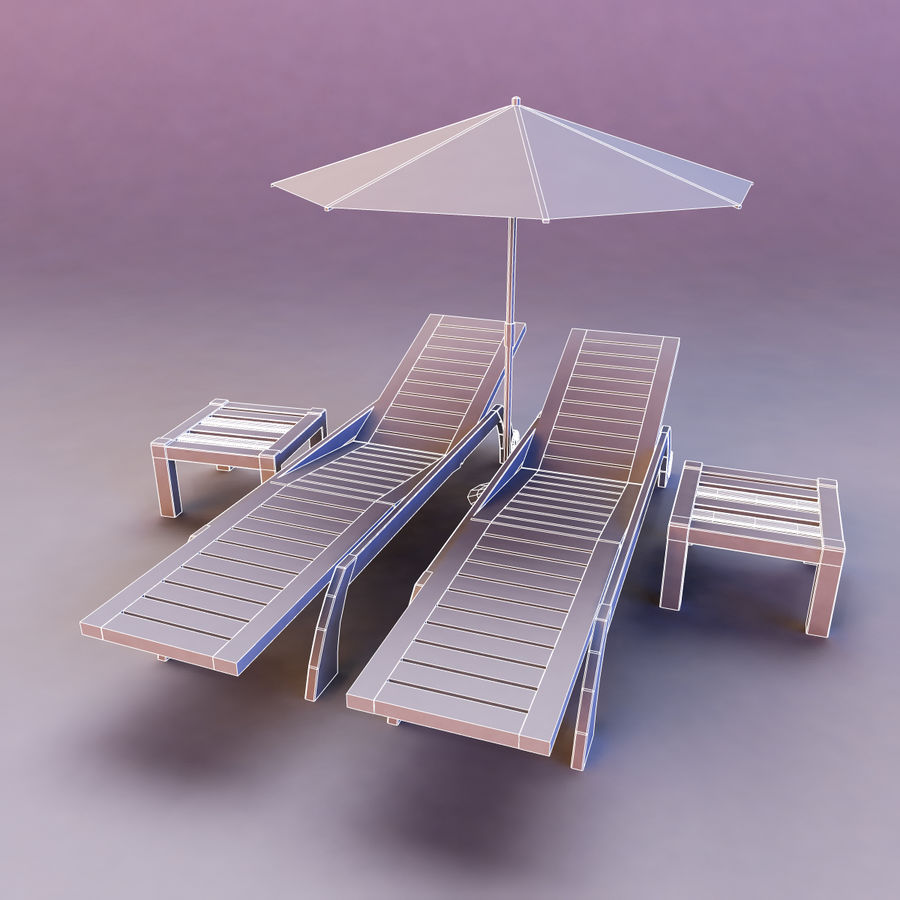 Sunbed_wooden royalty-free 3d model - Preview no. 3