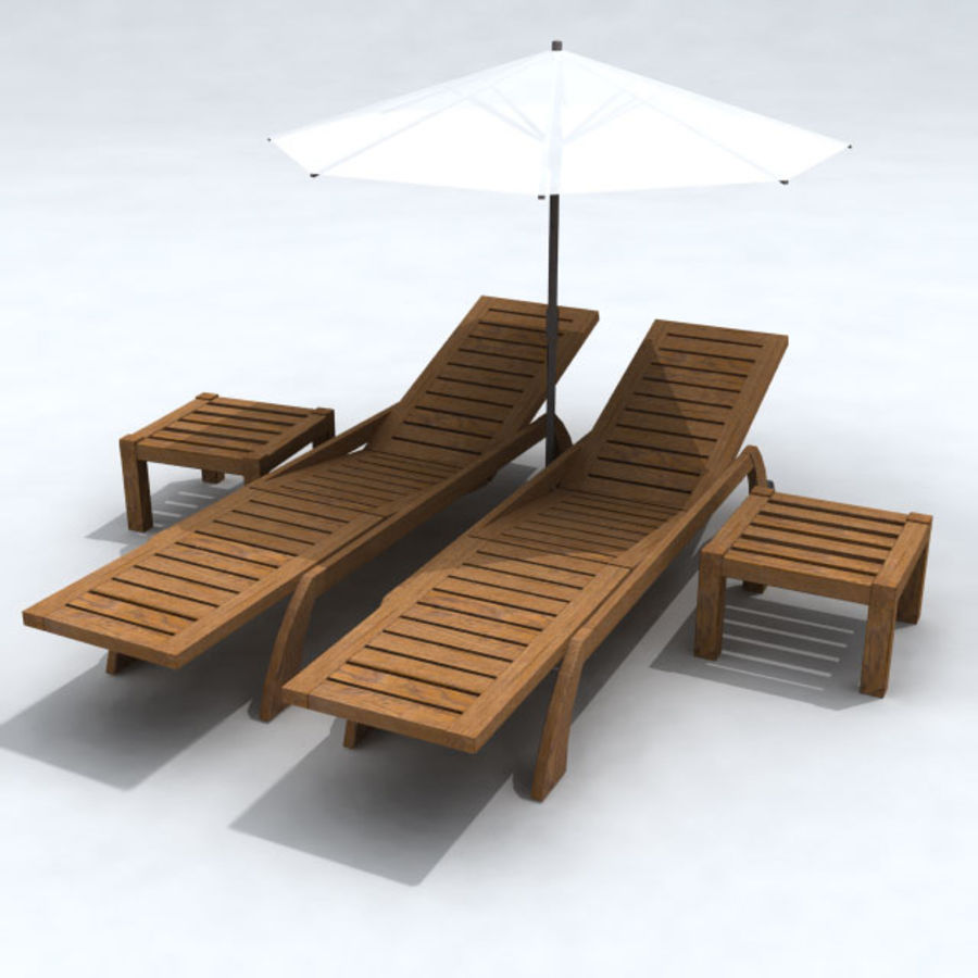 Sunbed_wooden royalty-free 3d model - Preview no. 7