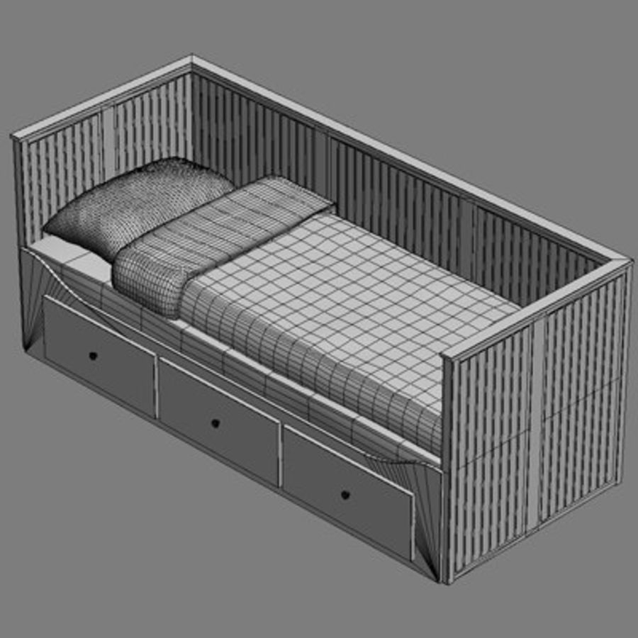 Bed Hemnes Ikea royalty-free 3d model - Preview no. 4