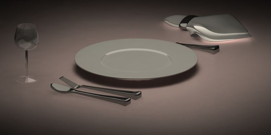 Table Set royalty-free 3d model - Preview no. 2