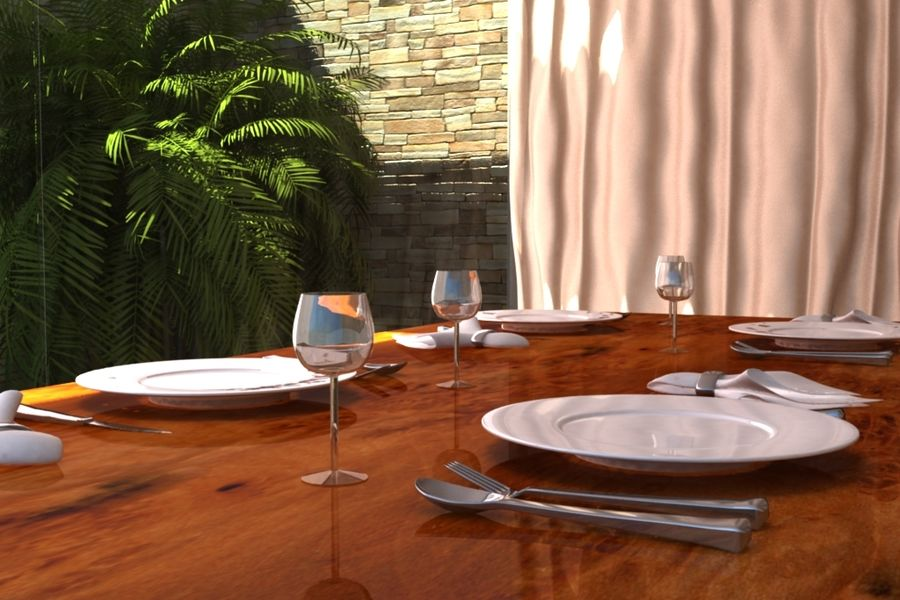 Table Set royalty-free 3d model - Preview no. 1