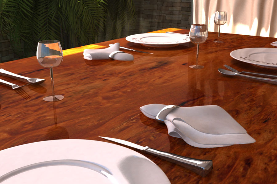 Table Set royalty-free 3d model - Preview no. 3