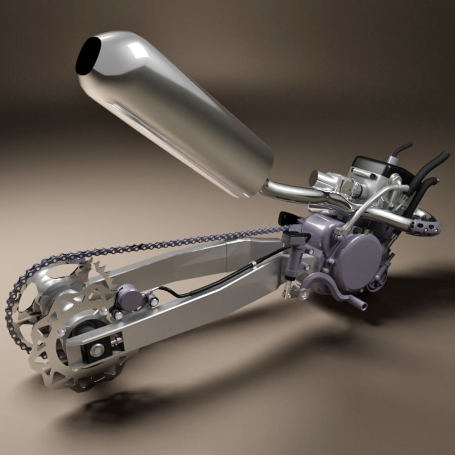 Motorbike engine V2 royalty-free 3d model - Preview no. 8