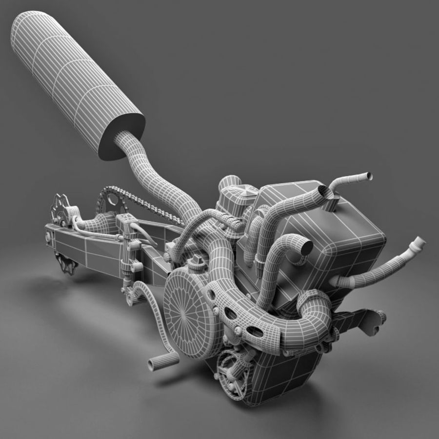 Motorbike engine V2 royalty-free 3d model - Preview no. 22