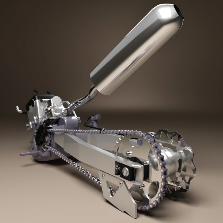 Motorbike engine V2 royalty-free 3d model - Preview no. 2