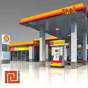 Low poly gas station Shell 3d model