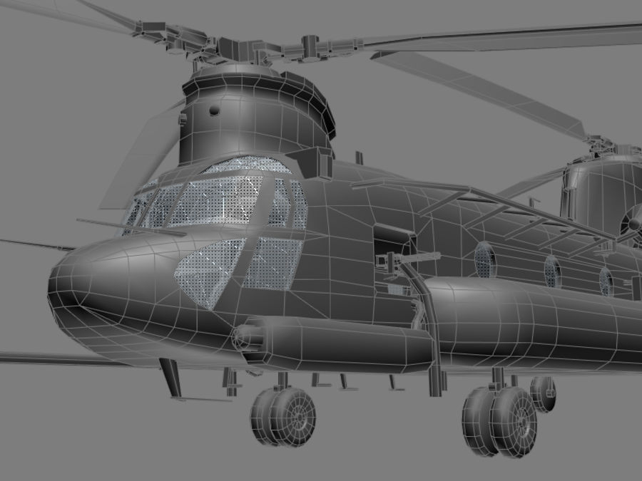 CH-47E SOA US Special Forces transport helicopter game model royalty-free 3d model - Preview no. 8