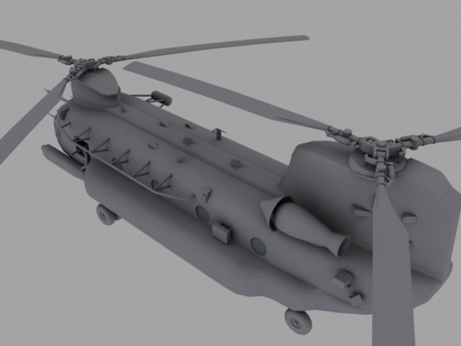 CH-47E SOA US Special Forces transport helicopter game model royalty-free 3d model - Preview no. 6